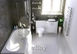 P Shaped Bathroom Suite Complete Vanity Unit Back to Wall Toilet and Screen