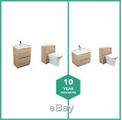 Peace Light Oak Wall Hung Floor Standing Vanity Unit & Back to Wall Toilet Suite