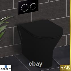 RAK Black Back To Wall Toilet Vanity Unit Basin GIBERIT Cistern Cloakroom Suite