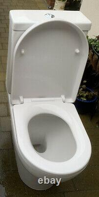 Saneux Air Open Back Rimless Close Coupled Soft Close Toilet + Vanity Sink Unit