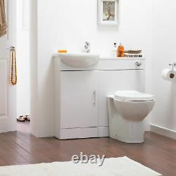Slimline Gloss White Sienna Cloakroom Vanity Unit Basin Sink 900mm Back To Wall