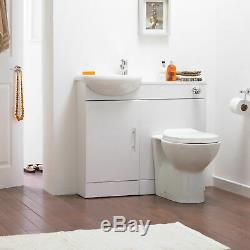 Slimline Gloss White Sienna Cloakroom Vanity Unit Basin Sink 900mm Back To Wall
