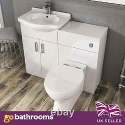 Traditional Bathroom Vanity Unit Basin Sink Unit Storage WC Gloss White 550mm