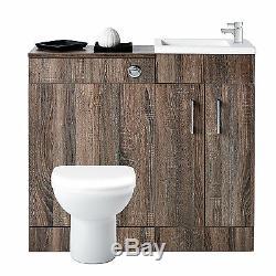 Truffle Oak Bathroom Furniture Vanity Cabinet Basin Sink Unit Back To Wall Pan
