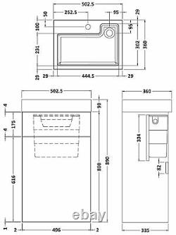 Vasari Vista Black Wood Back To Wall BTW Unit Toilet 500mm Cistern Basin Sink