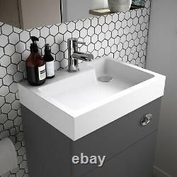 Vasari Vista Grey Gloss Back To Wall BTW Unit Toilet 500mm Cistern Basin Sink