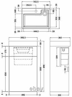 Vasari Vista Grey Wood Back To Wall BTW Unit Sink Toilet 500mm Cistern Basin