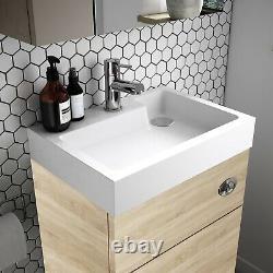 Vasari Vista Natural Oak Back To Wall BTW Unit Toilet 500mm Cistern Basin Sink