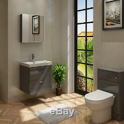 VeeBath Cyrenne Vanity Basin Cabinet Back To Wall Toilet Grey Bathroom 1100mm