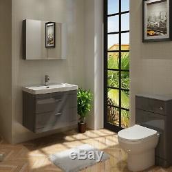 VeeBath Cyrenne Vanity Basin Cabinet Back To Wall Toilet Grey Bathroom 1300mm