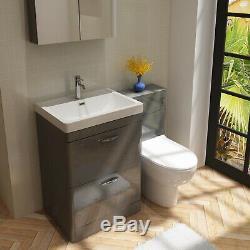 VeeBath Cyrenne Vanity Unit Back To Wall Toilet Grey Bathroom Furniture 1200mm