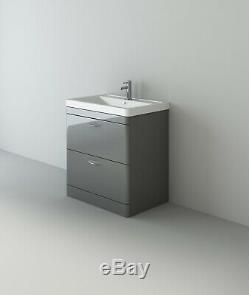 VeeBath Cyrenne Vanity Unit Back To Wall Toilet Grey Bathroom Furniture 1300mm