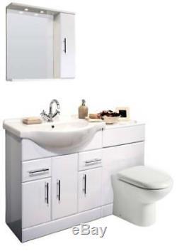 VeeBath Linx Vanity Basin Cabinet Back To Wall Toilet Unit Pan Cistern 1350mm
