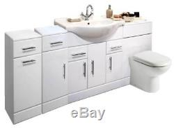 VeeBath Linx Vanity Basin Cabinet Back To Wall Toilet Unit Pan Cistern 1900mm
