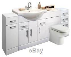 VeeBath Linx Vanity Basin Cabinet Back To Wall Toilet Unit Pan Cistern 1950mm