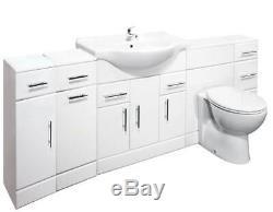 VeeBath Linx Vanity Basin Cabinet Back To Wall Toilet Unit Pan Cistern 2200mm