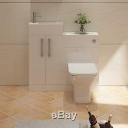 VeeBath Lumin Cloakroom Vanity Unit Back To Wall Toilet Furniture Unit 975mm