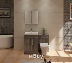 VeeBath Lumin Grey Avola Vanity Sink Unit Back To Wall Toilet Furniture 1100mm
