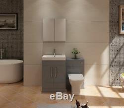VeeBath Lumin Grey Gloss Vanity Sink Unit Back To Wall Toilet Furniture 1100mm