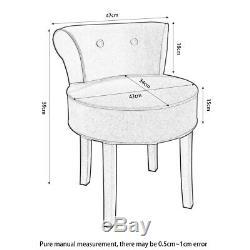 Velvet Dressing Table Chair Vanity Makeup Stool Wood Footstool Bedroom Grey Roun