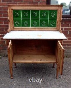Victorian antique Arts & Crafts solid carved oak marble tile back wash stand
