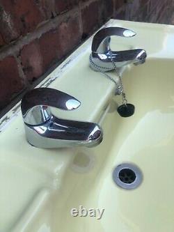 Vintage Bathroom Suite Yellow Art Deco Style 1950s Back Splash Shelf Sink Toilet