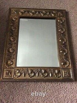 Vintage Brass Hall/Wall Hanging Vanity Bevelled Edge Mirror, Wood Back 21x 17