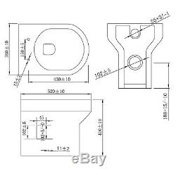WC Unit Bathroom Vanity Back To Wall Square/Shape Toilet Free Concealed Cistern