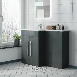 Welbourne Bathroom LH L-Shape Basin Grey Vanity Unit Back To Wall WC Toilet