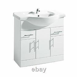 White Bathroom Furniture Cloakroom Suite With 850mm Vanity Basin Sink Toilet WC