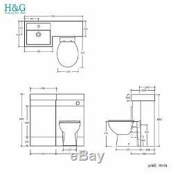 White Combi Bathroom Wall Vanity Unit Basin + Back+ Cistern+Toilet 906L