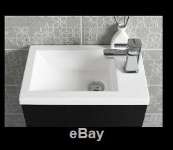 White Combination Vanity Unit Basin Sink Concealed Back to Wall Toilet Bathroom