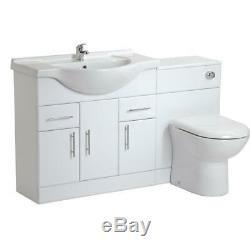 White Gloss 1350mm Bathroom Vanity Unit Cabinet & 500mm Back To Wall Toilet Pan