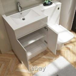 White Vanity Unit with Back to Wall Toilet Left Hand Florence