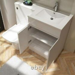 White Vanity Unit with Back to Wall Toilet Right Hand Florence