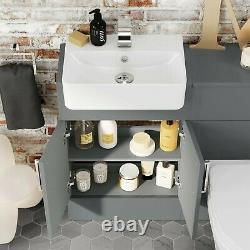 1000mm Grey Square Slim Gloss Combined Vanity Unit Back To Wall Toilet Wc