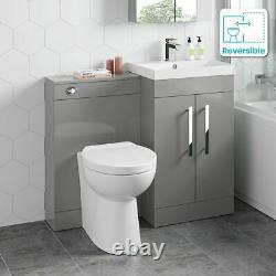 1000mm Pebble Grey Square High Gloss Combined Vanity Unit Retour À La Toilette Murale Wc