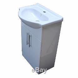1050 Meuble-lavabo De Salle De Bain Au Sol 550 Cuvette En Céramique Et Cuvette De Toilette, Blanc