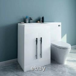 1100mm Combinaison Vanity & Toilettes Unité Dos Au Mur Pan Et Siège Blanc