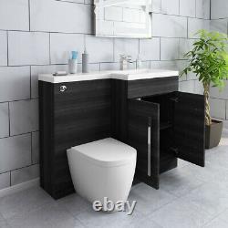 1100mm De Grey Bathroom Vanity Basin Sink Retour À Wall Toilettes Meubles Suite