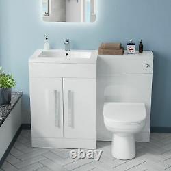 1100mm Gauche Lavabo Blanc Vanity Cabinet Et Wc Retour Au Mur Toilettes Aubery