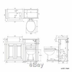 1167mm Minuit Gray A Quitté L'unité Vanity Combiné Retour À Mur Toilettes Pied De Sol