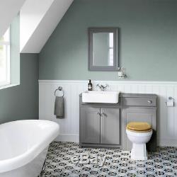 1167mm Minuit Gris Combiné Vanity Unité Retour Au Mur Support Plancher De Toilette