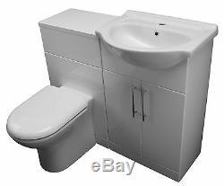 1250 Meuble Sous Vasque De Lavabo En Céramique Lavabo 650 Unité De Toilette & Casserole Blanche