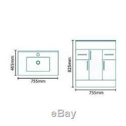 1250mm Combinaison Vanity & Toilettes Unité Dos Au Mur Pan Et Siège Blanc