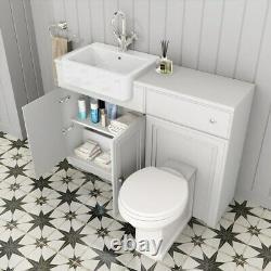 1567mm Matt White Unité De Vanité Combinée Retour À Wall Pan Toilette Wc Sol Stand