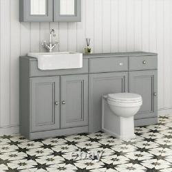 1567mm Midnight Grey Combined Vanity Unit Retour À Wall Pan Toilette Wc Sol Stand