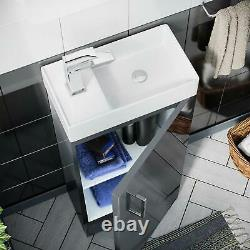 400mm Sol Standing Vanity Gloss Dark Grey + Rimless Back Fermer Toilettes Jumelées