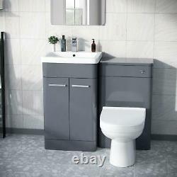 500mm Steel Grey Vanity Cabinet Avec Unité Wc Et Back To Wall Toilet Amie