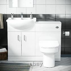 550 MM Cloakroom Basin Vanity Cabinet & Back To Wall Wc Toilet Suite Ingersly